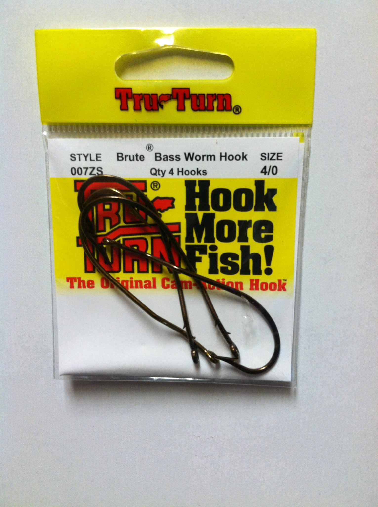tru turn brute bass worm hook 4 pk.