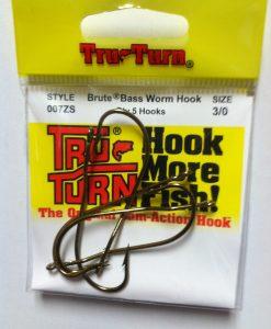 tru turn brute bass worm hook 5 pk.