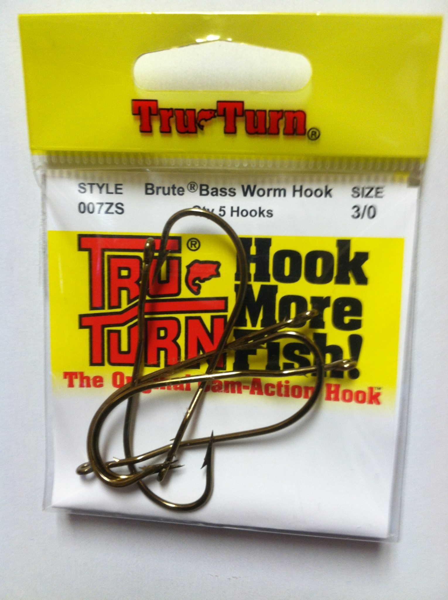 tru turn brute bass worm hook 5 pk.