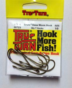 tru turn brute bass worm hook 7 pk.