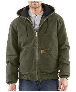 carhartt men's army green flannel lined active jacket