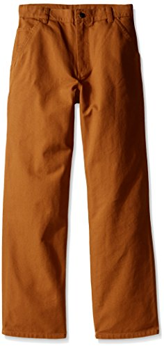 carhartt big boys' adjustable waist dungaree pant, carhartt brown