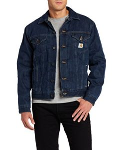 carhartt men's sherpa lined denim jean jacket