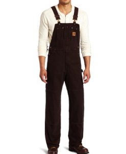 carhartt men's sandstone bib overalls unlined,dark brown