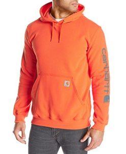 carhartt men's signature sleeve logo midweight sweatshirt hooded,orange