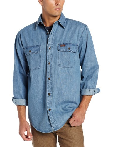 carhartt men's washed denim work shirt long sleeve button front original fit