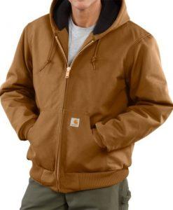 carhartt men's quilted flannel lined duck active jacket j140 carhartt brown