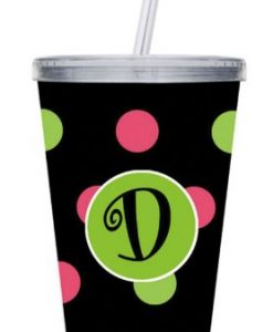 cypress polka dot monogram acrylic cup with clear straw d