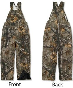 carhartt boy's realtree brown camouflage quilt lined bib overalls