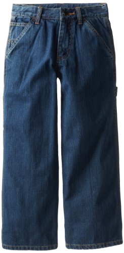 carhartt boys washed denim dungaree jeans worn in blue