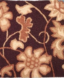 jellybean jacobean flower - brown w/blue rug