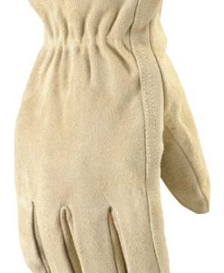 wells lamont 1070l ranch suede split cowhide work gloves, jersey lined, straight thumb, double shirred wrist, large