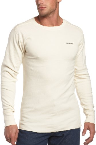 carhartt men's big & tall heavyweight cotton thermal crewneck top, natural