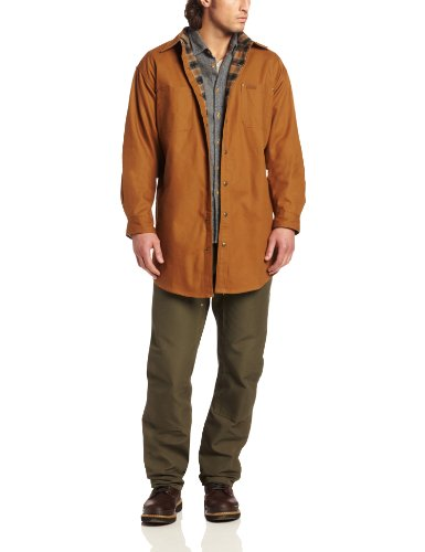 carhartt men's classic canvas shirt jacket flannel original fit, brown