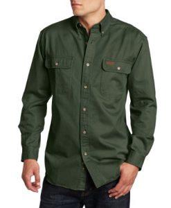 carhartt men's sandstone twill shirt, moss
