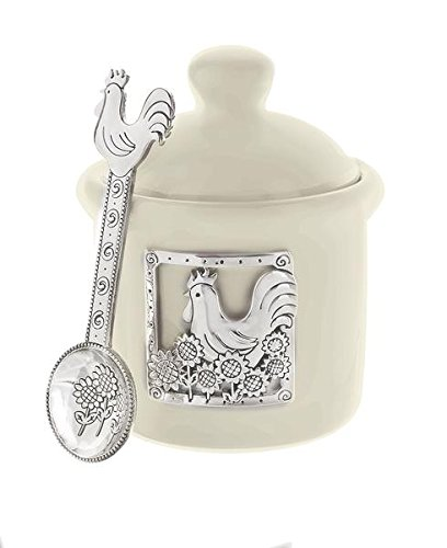 ganz condiment jar with spoon - rooster