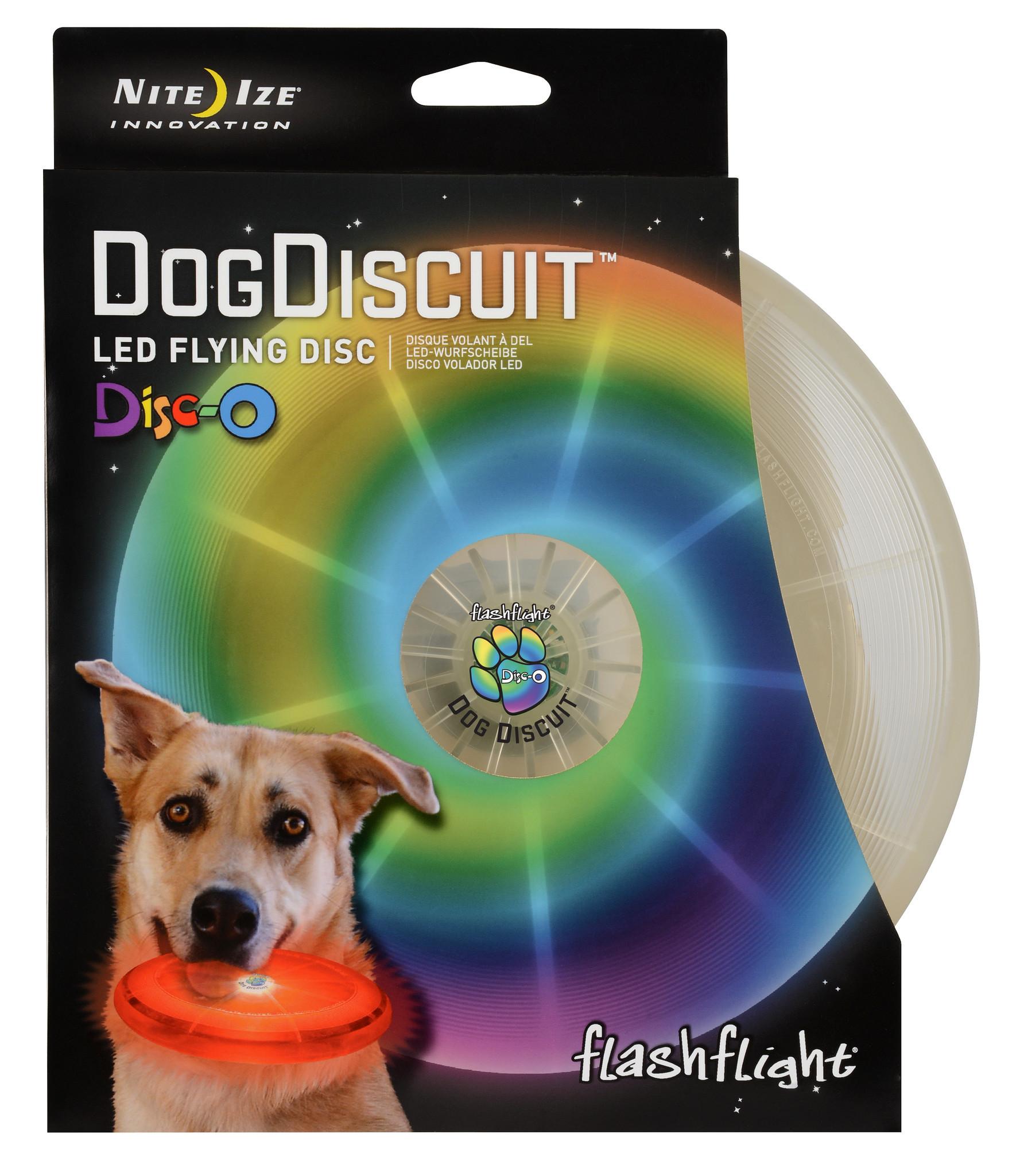 nite ize flashflight dog discuit - led light-up flying disc