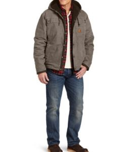 carhartt men's big & tall sherpa lined sandstone hooded multi pocket jacket j284,