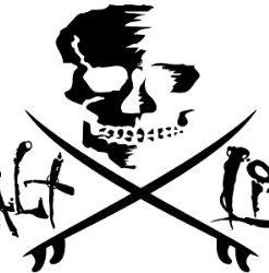 salt life skull with surfboards decal - medium - black
