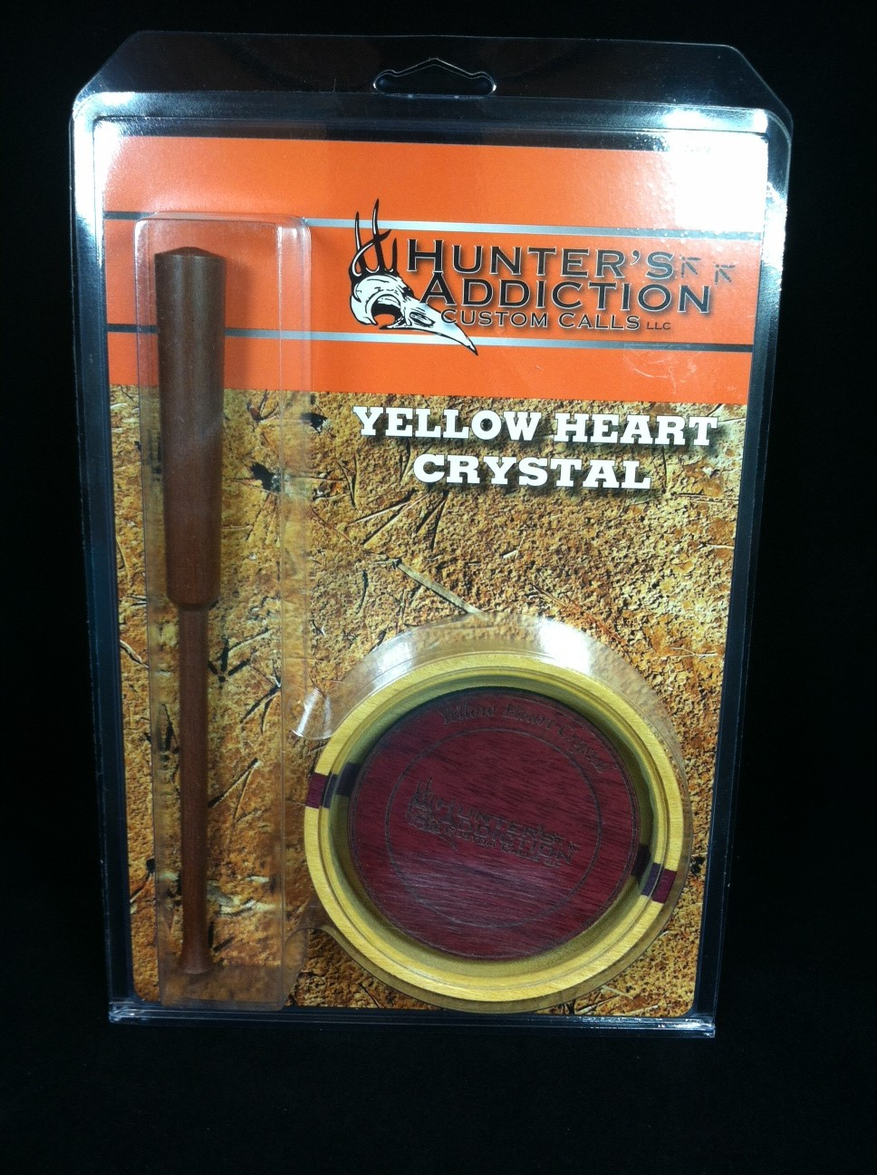 hunter's addiction yellow heart crystal - custom turkey call