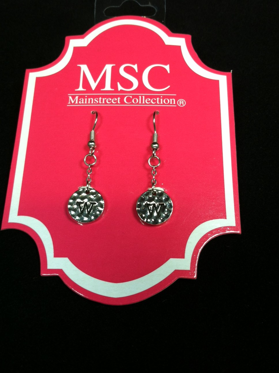 mainstreet collection monogram silver charm earrings