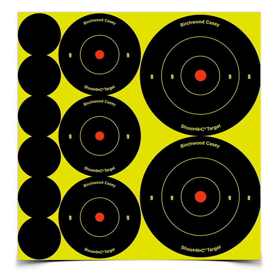 "birchwood casey shoot•n•c ass't 1"", 2"", 3"" bull's-eye, targets"