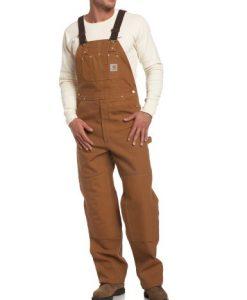 carhartt men's big & tall duck bib overalls unlined r01,brown