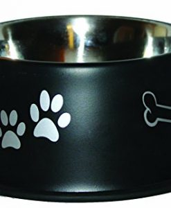 omnipet jumbo non tip dog bowl, 8 oz., black