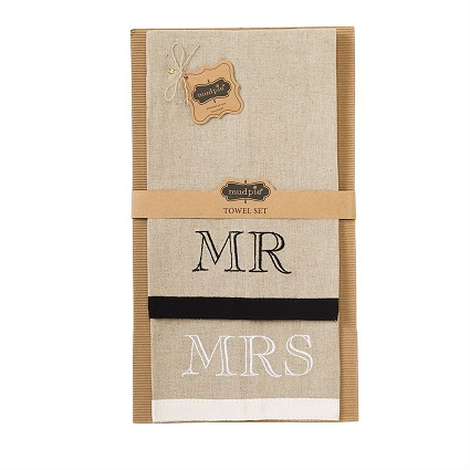 mud pie mr & mrs linen towel set