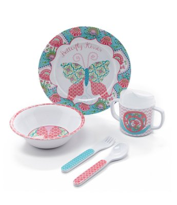 mud pie spring garden feeding set 5 pc. feeding set includes plate, fork, spoon, two-handled sippy cup with lid and bowl