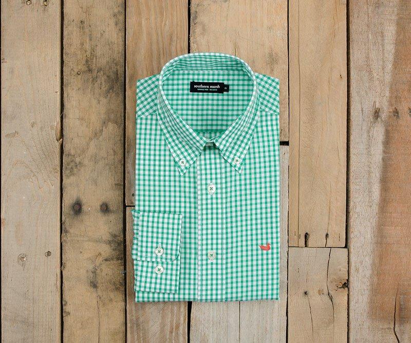 Southern Gingham Marsh Men's Free Shirt- Wrinkle Dress Nashville
