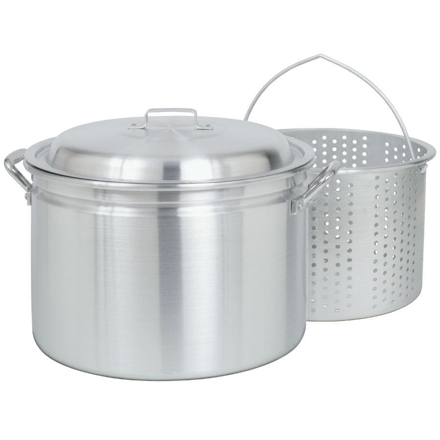 Bayou Classic 4024 24-Quart All Purpose Aluminum Stock pot with Steam and Boil Basket