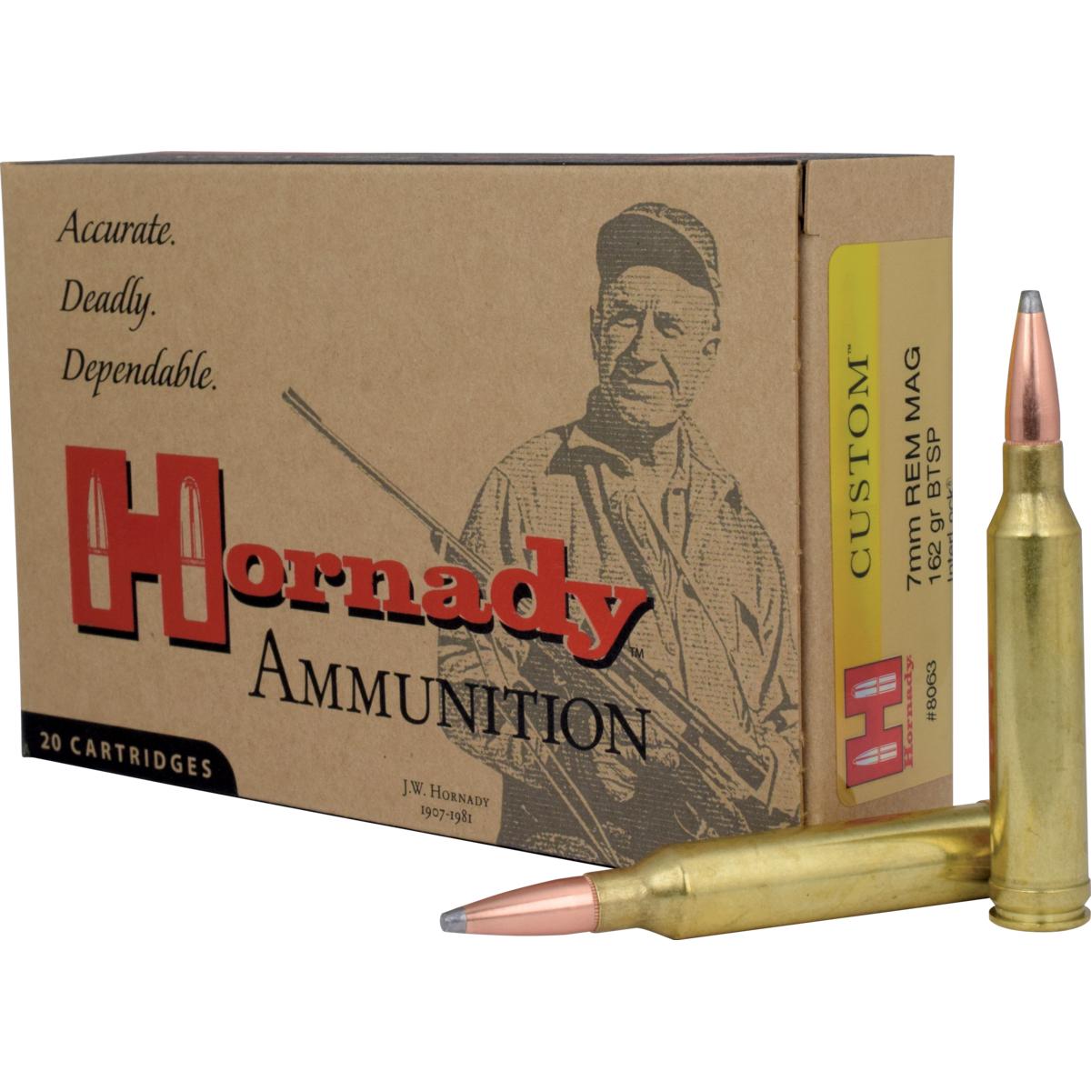 Hornady 7mm Remington Magnum Custom Ammunition 20 Rounds, BTSP, 162 Grains