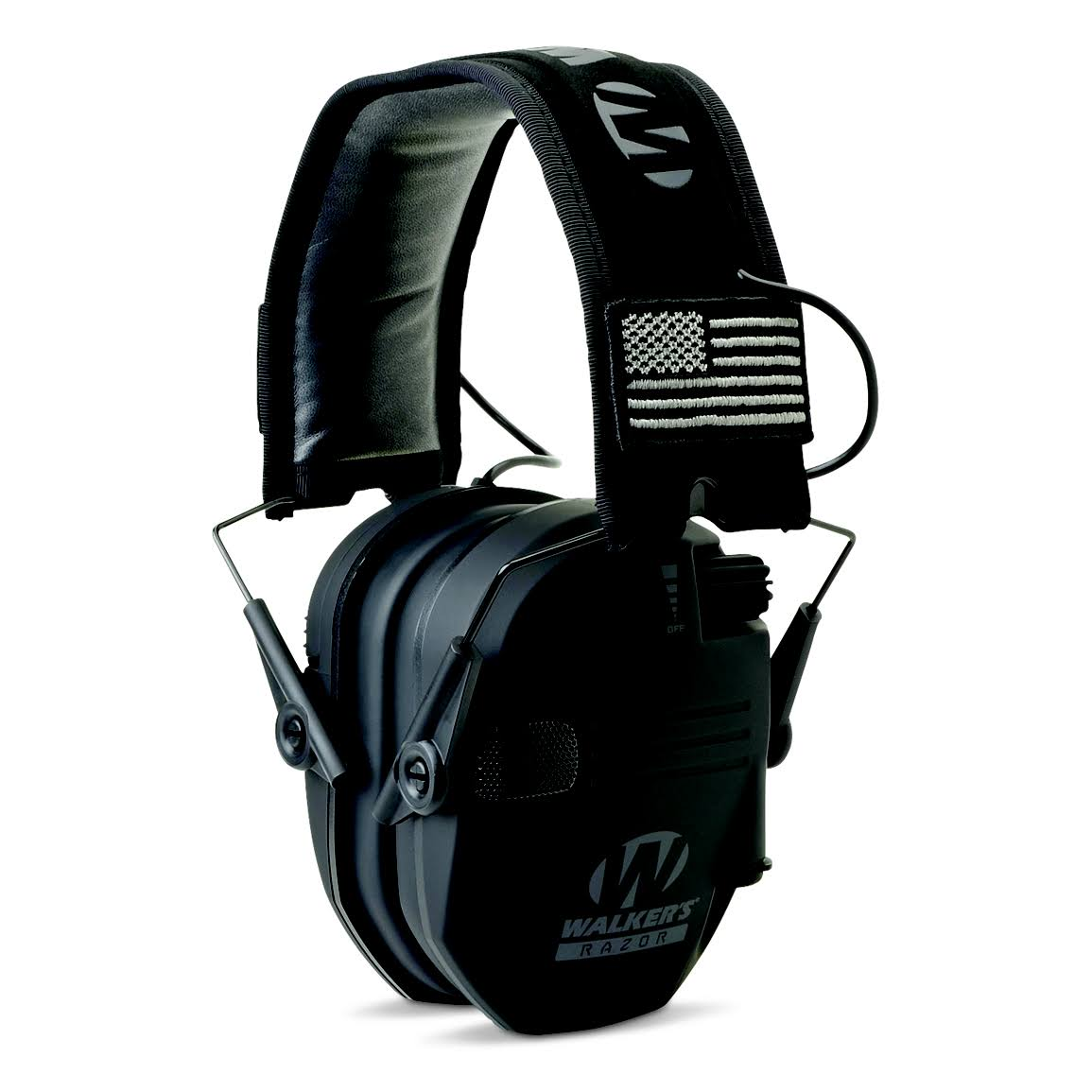 Walker's Game Ear Razor Patriot Series Electronic Adult Folding Earmuffs American Flag Black