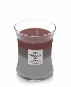 WoodWick Trilogy Forest Retreat Medium Candle Fragrances include: Redwood, Amber & Incense, Palo Santo